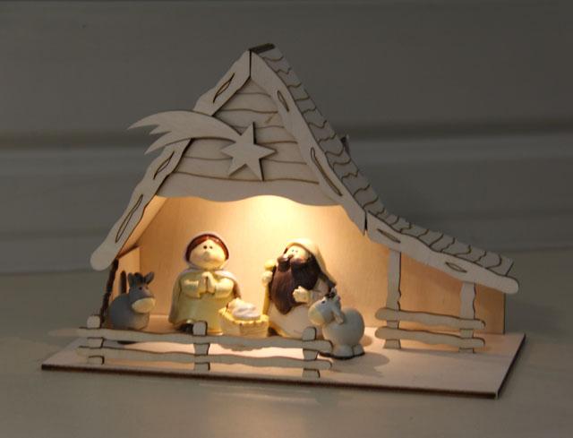 Weihnachtskrippe Betlehem, mit Solar Beleuchtung
