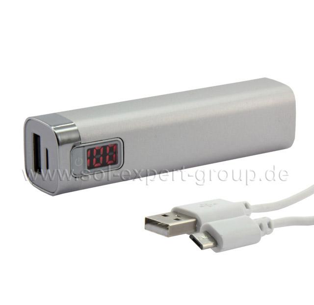 Powerbank DIGI-MAX, silber, 2600 mA, Digitalanzeige