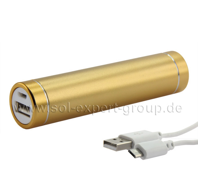 Powerbank EASY-SOL Gold Edition, 2600 mAh, goldfarben