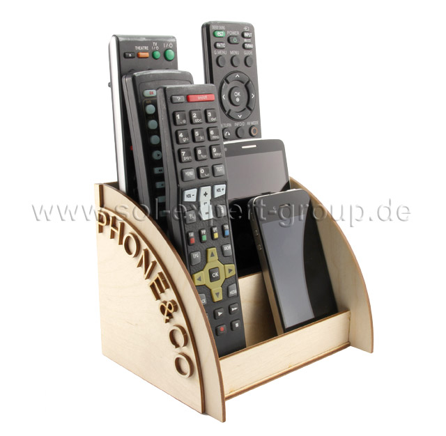 Wooden kit storage box for remote controls