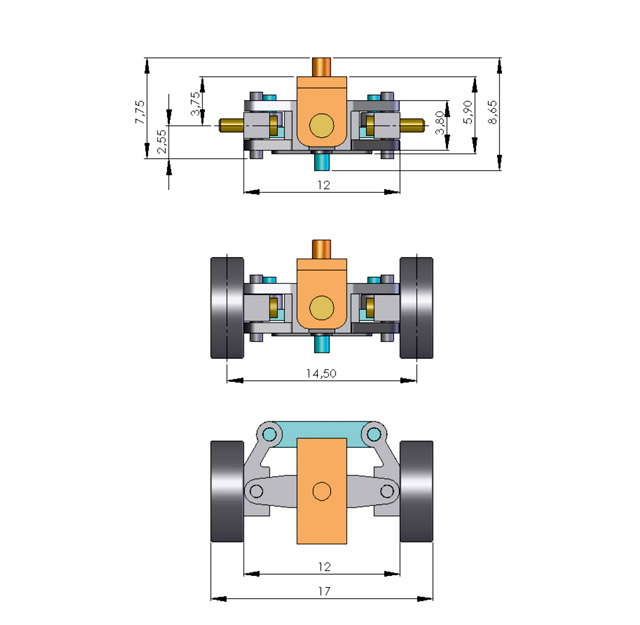 Lenkung für 1:87 PKW, fertig montiert, Spurbreite 14,5 mm