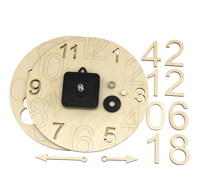 Wall clock, wooden building set