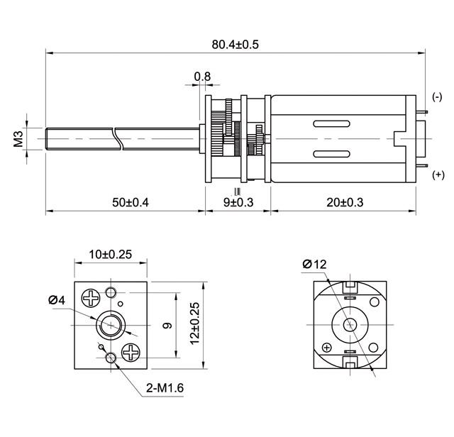 Getriebe G53M mit M3 Gewindestange