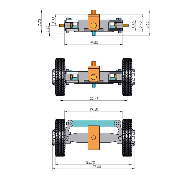 Lenkungsbausatz für 1:87 LKW, für 2 Spurbreiten, ohne Räder