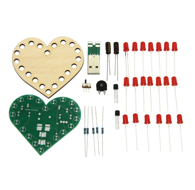 Solder kit heart, with flashing function and permanent light