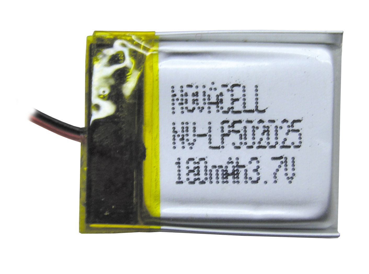 Lithium-Polymer Akku, 180 mAh, 10C Entladestrom, 6.5 x 22 x 27 mm
